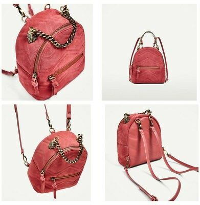 ba0161ea ZARA PINK LEATHER Backpack With Wolves Detail Ref. 4084/204 Nwt !!!