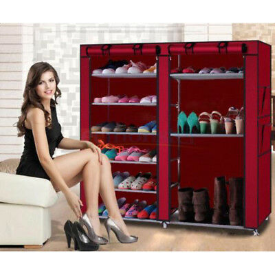 2 Doors 9 Tier Shoe Boot Closet Rack Shelf Storage Cabinet Organizer with Cover