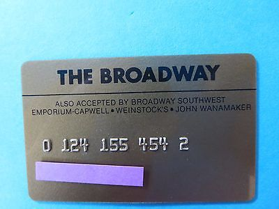 Vintage The Broadway Department Stores Credit Card