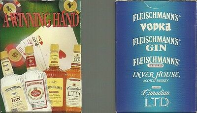 Lot of 2 A WINNING HAND POKER SIZE PLAYING CARDS NIP FLEISCHMANN'S SPIRITS