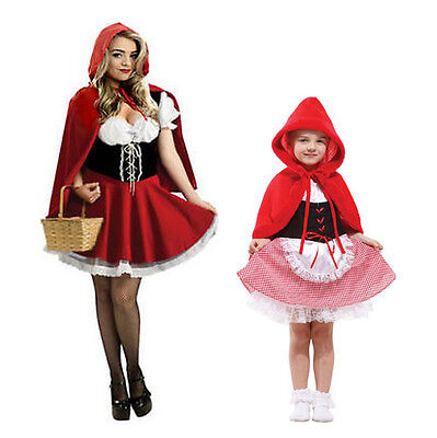 Little Red Riding Hood Halloween Fancy Dress Costume Girls Ladies Kids Sizes
