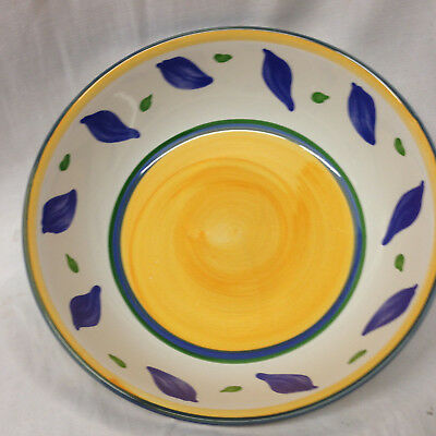 """Williams Sonoma Portugal Tournesol Soup Or Pasta Bowl 8 1/2"""" Yellow & Blue Bands"""