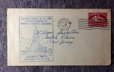 1932 WASHINGTONS MASONIC HALL MAY 12 FIRST DAY STAMP COVER #fdc234