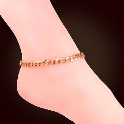 """9ct 9k Rose """"Gold FILLED"""" Ladies Heart ANKLE CHAIN Butterfly ANKLET.11.2"""" Gift"""