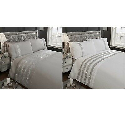 Carly Crystal Diamante Bands Duvet Quilt Cover Bling Embroidered Bed Bedding Set