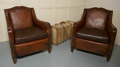 A Pair of Elegant Shabby French Art Deco Leather Club Chairs