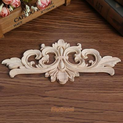 Wood Onlay Applique Wooden Wood Carving Decal Furniture Wall Corner Decoration