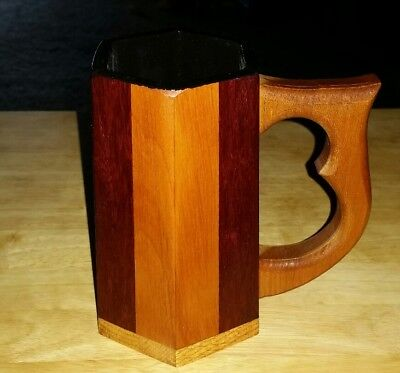 Handcrafted Lined Wood Mug Tankard Beer Stein Cup Medieval Knight