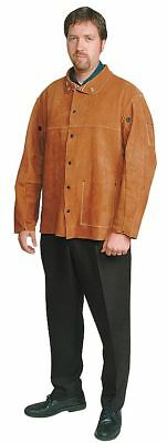 "Condor Brown Leather Welding Jacket, Size: 2XL, 30"" Length - 6AF88"
