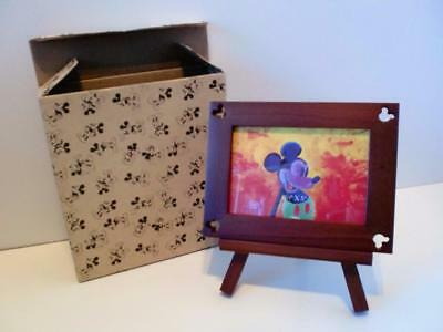 Disney Parks Luxury Mickey Mouse Boxed Walnut Wooden Easel Picture Photo Frame