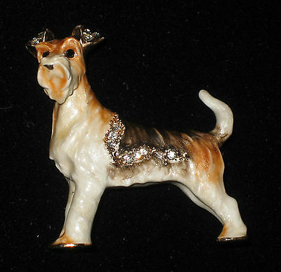 FOX TERRIER Enamel Pin Crystal Accents Brooch Gift Boxed Dog New Puppy