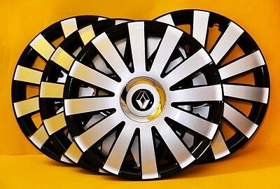 "RENAULT SET OF 4 x 15"" ALLOY LOOK CAR WHEEL TRIMS,COVERS 15 INCH HUB CAPS"
