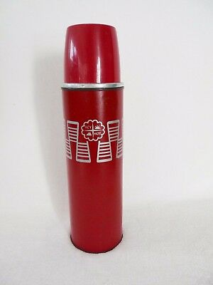 Vintage 1950s American Thermos Bottle Co ICY HOT w/Polly Red Top Metal Flask