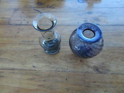 Matthew Larwood Australian Art Glass Small Amethyst Swirl  & Wedgwood Ming Vases
