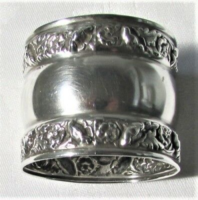 "Antique Sterling Silver Napkin Ring 1 3/8"" Tall ""Mildred Potlizer"" Repousse"