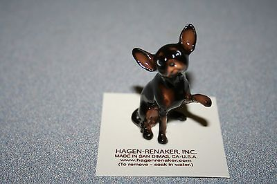 Hagen Renaker,Dog,Large Chihuahua,Black,Figurine,Miniature,Free Shipping,01019