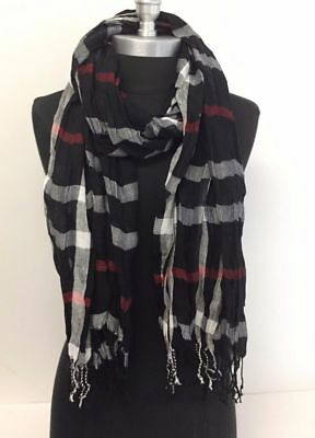 NEW Women Long Soft Fringe Scarf Fashion Crinkle Cotton Blend Wrap Shawl Black