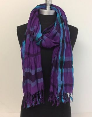 NEW Women Long Soft Fringe Scarf Fashion Crinkle Cotton Blend Wrap Shawl Purple