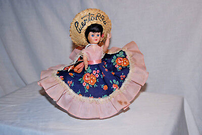 8 Inch Girl Doll, Hard Plastic, Souvenir From Puerto Rico