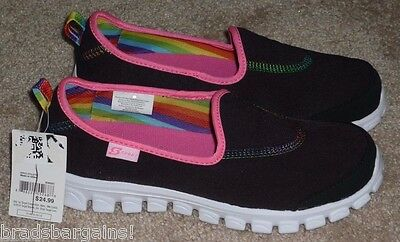 Girls Size 1.5 - S Sport by Skechers Slip On Shoes Sneakers Black - BRAND NEW!