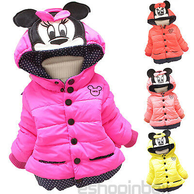 Infant Baby Girls Hooded Down Coat Jacket Mickey Mouse Winter Outwear Snowsuits