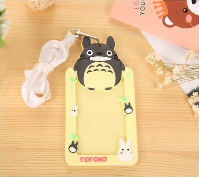 Cream Totoro Rubber Opal Card ID Holder Name Tag + Strap / Lanyard