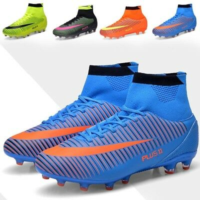 Durable Men Boy Kids Outdoor Football Boots Ankle Top Fg Soccer Cleats Shoes