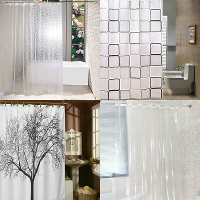 Polyester / PEVA Shower Curtain Plain White Clear Dust Water Proof 180*180CM