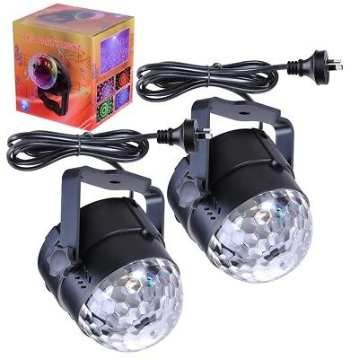 2Pcs Disco Party DJ LED RGB Stage Effect Light Lamp Laser Crystal Magic Ball AU