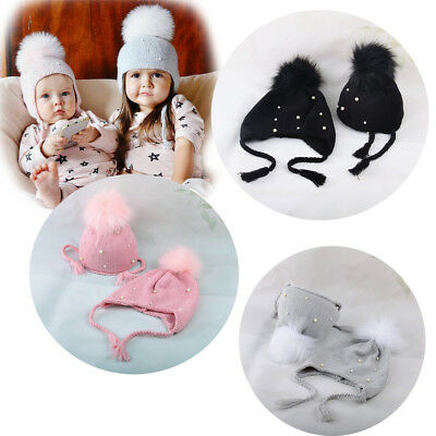 Baby Boy Girl Child Knit Beanie Beret Ski Ball Cap Baggy Winter Warm Earbud Hat