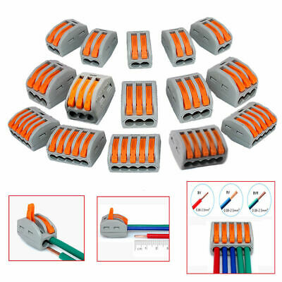 2/3/5 Way Reusable Spring Lever Terminal Block Electric Cable Connector Wire