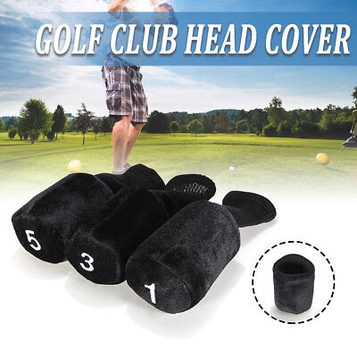 3X Knitted Golf Club Headcovers Black For No.1 3 5 Golf Wood Club Head Covers