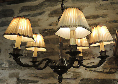 Vintage Old World Rustic Brass Chandelier with shades Country Cottage farmhouse