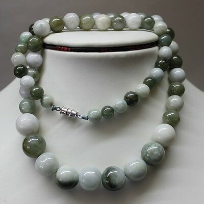 100% Natural (Grade A) Untreated Multi-Color Jadeite Jade Beads Necklace #N147