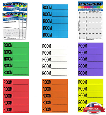 Tag-A-Room Color Coded Home Moving Box Labels Blank Customizable with Door IDs..