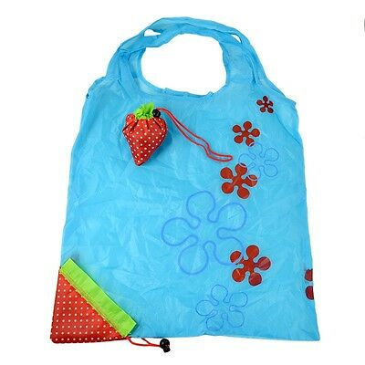 Eco-friendly Reusable Strawberry Fruit Green Folding Convenience Shopping Bags