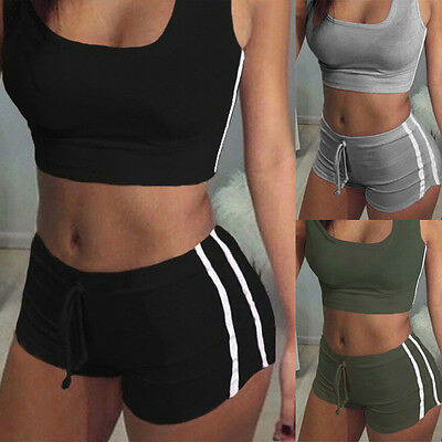 US NEW Women Sport Yoga Set Gym Running Sportwear Suit Fitness Clothing Workout