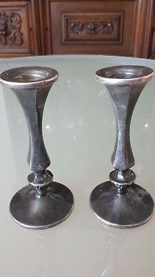 Antique Shabbat Sterling Silver Candlesticks
