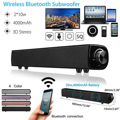 TV Home Theater Sound Bar Bluetooth Wireless Subwoofer Soundbar Speaker AUX