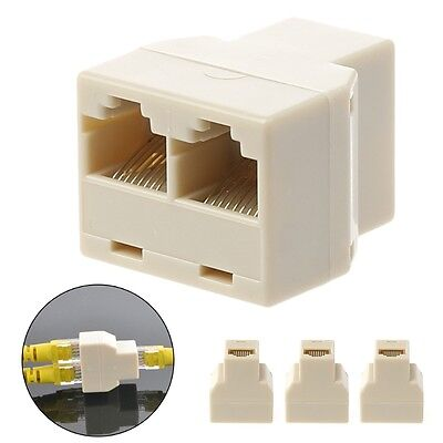 3X RJ45 1 To 2 Way LAN Ethernet Network Cable Female Splitter Connector Adapter