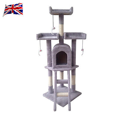Cat Kitten Scratching Post Tree Scratcher Bed Activity Centre Climbing Toy Grey