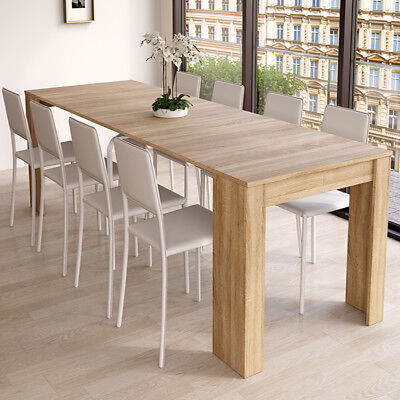 Mesa de comedor consola extensible hasta 268 cm, mesa salon color Roble Canadian