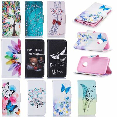 Cute patterns phone case for Motorola Moto G5S Plus pu leather wallet flip cover