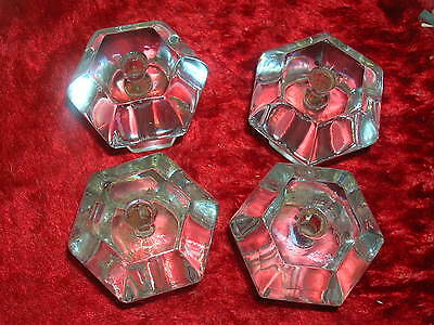 "4 Large Antique Glass Drawer Pulls Knobs with Bolts 6 Sides 1 5/8"" X 1 1/2"""