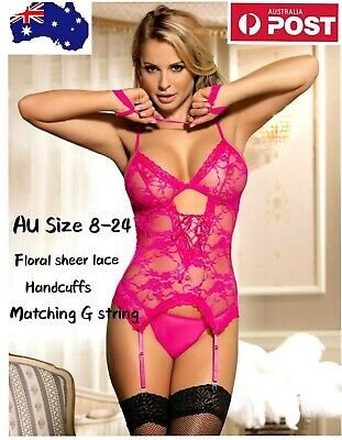 Teddy Woman's Sexy G String Handcuffs Sheer Lace Pink 3 Pc Lingerie Set Sz 8-24