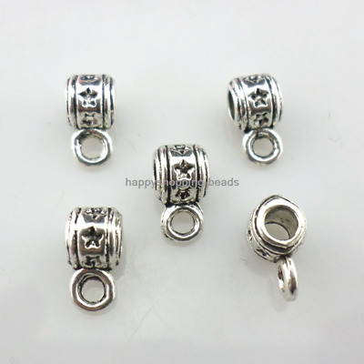 40/120Pcs Tibetan Silver Star Connectors Charms Bails Beads 5x5x9mm