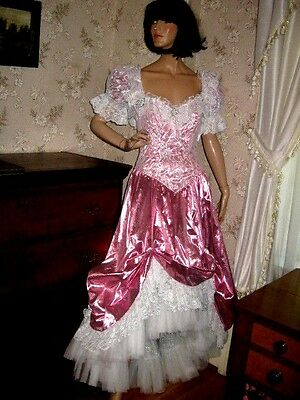Lovely Vintage1980 Loralie Pink Lame/white Lace Princess Evening Ball Gown-10
