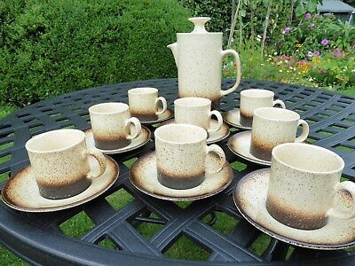 Iden Pottery,Rye REDUCED retro coffee pot with 8 matching cups & saucers