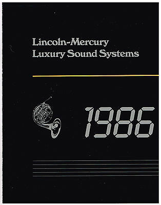 1986 LINCOLN-MERCURY Luxury Sound Systems BROCHURE