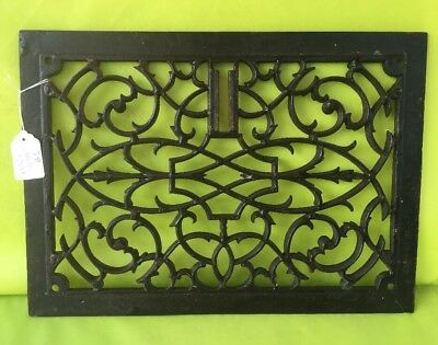 "Antique Victorian Cast Iron Grate Vent Old Ornate Cast Iron 13 1/2"" X 9 3/4"""